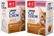 Корм для дорослих котів Cat Chow Purina Adult з лососем і зеленою квасолею Промо (4 + 1) 85 г