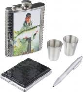 Подарунковий набір Фляга, чарки, портсигар та ручка T020