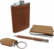 Подарунковий набір Фляга, портсигар, брелок та ручка A105
