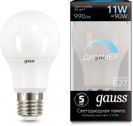 Лампа світлодіодна Gauss Black DIM 11 Вт A60 матова E27 220 В 4100 К