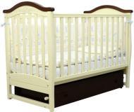 Ліжечко дитяче Верес Соня ЛД-3 слонова кістка/горіх із декором 03.1.05