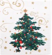 Серветка декоративна Прованс Новорічна казка 40x45 см білий із малюнком