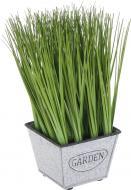 Растение искусственное Мискант в металлическом горшке 10х20 см
