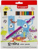 Набір олівців Triple 12 кольорів + чинка для олівців Bruynzeel Bruynzeel
