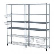 Стеллаж 2 секции IKEA OMAR 197x36x181 см Серебристый (892.790.51)
