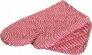 Набір кухонний Клітинка рукавичка ти прихватка білий із червоним