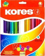Олівці кольорові 24 шт. з чинкою трикутні 3 мм K93324 Kores