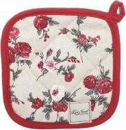 Прихватка Вінтаж троянди/горошки 20x20 см бежевий із червоним La Nuit