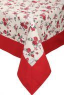 Скатертина Вінтаж Троянди з кантом 136x220 см бежевий із червоним La Nuit