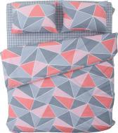 Комплект постільної білизни Rhombus 2 сірий із рожевим La Nuit