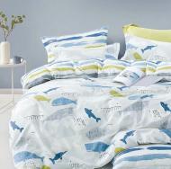 Комплект постельного белья серый с принтом Sea_
