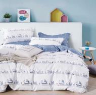 Комплект постельного белья NANTONG белый с голубым Ships_