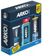 Подарунковий набір для чоловіків Arko Освіжаючий піна для гоління+крем після гоління+гель для душу