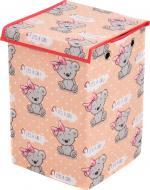 Ящик для іграшок Українська оселя 30x30x45 см із кришкою Ведмежатко-дівчинка HTKKЕL-3030-008