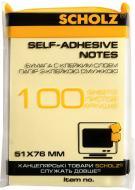 Папір для нотаток з клейким шаром 51х76 мм 100 арк жовтий SCHOLZ