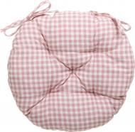 Подушка на стілець Рожева клітинка кругла D 40 Прованс