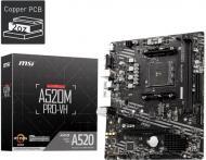 Материнська плата MSI A520M PRO-VH (Socket AM4, AMD A520, mirco ATX)