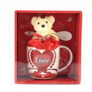 Подарочный набор чашка Good Idea ложка и мишка Love 340 мл Красный (nt5318i3729)