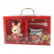 Подарочный набор чашка ложка блюдце Good Idea и Cute Teddy Bear 200 мл Красный (nt5323i3730)