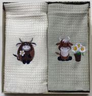 Набор полотенец вафельных Бычок с ромашками 2 шт. 45x60 см La Nuit