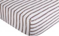 Простынь на резинке трикотажная Котики 90x200 см белый с принтом Homeline