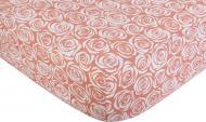 Простынь на резинке трикотажная Розы 160x200 см розовый с принтом Homeline