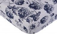 Простынь на резинке трикотажная Контурные цветы 90x200 см белый с принтом Homeline