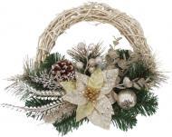 Вінок новорічний ротанговий декорований квіткою і шишками d250 мм W06-018A10/31