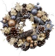 Вінок новорічний декорований шишками і кульками d300 мм W01-1293/4