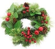 Вінок новорічний декорований ягодами і шишками d300 мм W06-18S12/17