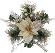 Декорація новорічна ротангова Зірка з пуансетією 30 см W06-018A29/1