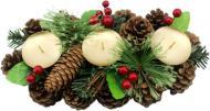 Декорація новорічна ротангова Підсвічник на 3 свічки 28 см W01-1266/7A