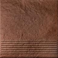 Клинкерная плитка Солар Браун ступенька структурная 30x30 Cersanit