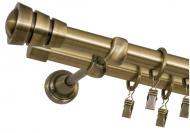 Карниз Bojanek FEDORA подвійний укомплектований d19 мм 200 см антична латунь