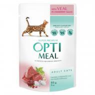 Влажный корм Optimeal для взрослых кошек с телятиной в клюквенный соусе, 85 г