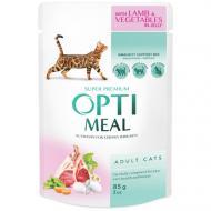 Влажный корм Optimeal для взрослых кошек с ягненком и овощами в желе, 85 г