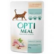 Влажный корм Optimeal для взрослых кошек с кроликом в белом соусе, 85 г