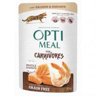Беззерновой влажный корм Optimeal для взрослых кошек, с лососем и креветками в соусе, 85 г