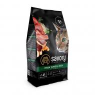 Сухой корм для взрослых капризных кошек Savory 400 г  (индейка и утка)