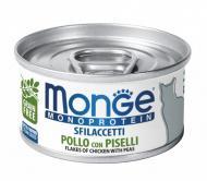 Влажный корм Monge Cat Monoprotein 80 гр х 12 шт для кошек мясные хлопья курица с горошком