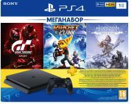 Ігрова консоль Sony PlayStation 4 Slim 1Tb в комплекті з 3 іграми і підпискою PS Plus 9702191 black