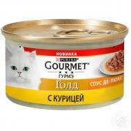 Влажный корм GOURMET Gold Соус Де-люкс с курицей для взрослых кошек 85г x 12 шт