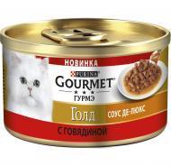 Влажный корм GOURMET Gold Соус Де-люкс С говядиной для взрослых кошек 85г x 12 шт