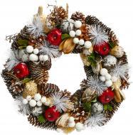 Вінок новорічний з памороззю, шишками і яблуками d330 мм 7005130240
