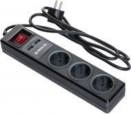 Фільтр-подовжувач REAL-EL RS-3 USB CHARGE із заземленням 3 гн. чорний 1,8 м RS-3 USB CHARGE 1.8m, black