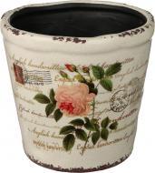 Кашпо керамічне Троянда круглий (Y384-116-3) бежевий із малюнком