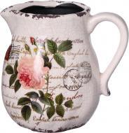 Кашпо керамічне глечик Троянда фігурний (H080-116-2) бежевий із малюнком