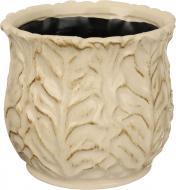 Кашпо керамічне Листочок круглий 1,7л (8025-5-1314) кремовий