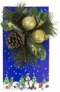Гілочка декоративна хвойна з шишками та золотими ягодами 20 см 470808