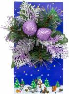 Гілочка декоративна хвойна з бузковими ягодами 20 см 470815